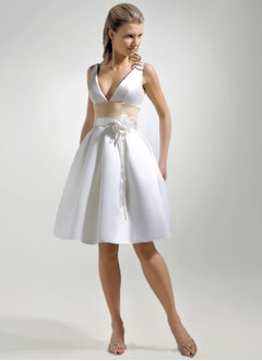 A-Line/Princess V-neck Knee-Length Satin Wedding Dress With Flower(s)