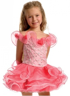 A-Line/Princess Off-the-Shoulder Short/Mini Organza Flower Girl Dress With Beading (01005009573)