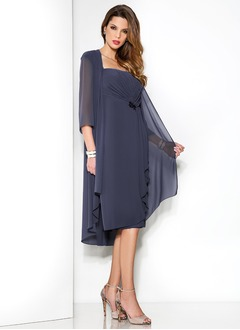 Sheath/Column Square Neckline Knee-Length Chiffon Mother of the Bride Dress With Ruffle Sequins