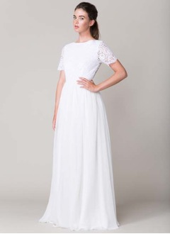 A-Line/Princess Scoop Neck Floor-Length Chiffon Wedding Dress With Appliques Lace
