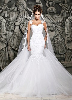 Trumpet/Mermaid Sweetheart Watteau Train Tulle Lace Wedding Dress With Appliques Lace
