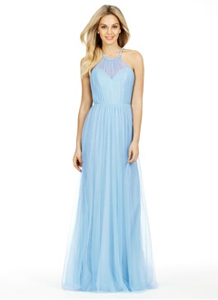 A-Line/Princess Scoop Neck Floor-Length Tulle Bridesmaid Dress With Ruffle