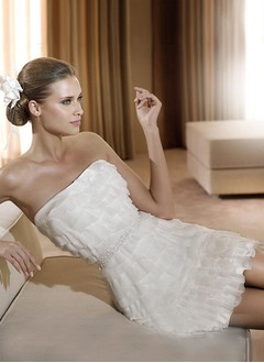 Sheath/Column Strapless Short/Mini Chiffon Wedding Dress With Beading Bow(s)