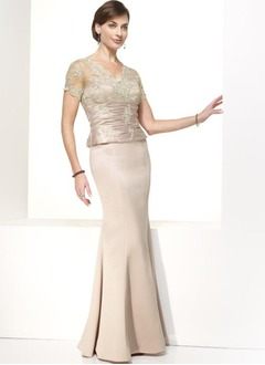 Trumpet/Mermaid V-neck Floor-Length Satin Tulle Mother of the Bride Dress With Ruffle Lace Beading Sequins