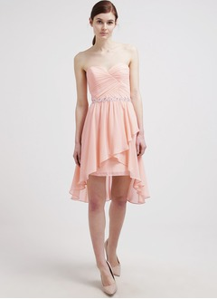 A-Line/Princess Strapless Sweetheart Asymmetrical Chiffon Prom Dress With Ruffle Beading