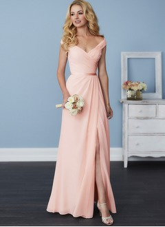 A-Line/Princess V-neck Off-the-Shoulder Floor-Length Chiffon Bridesmaid Dress With Ruffle Split Front