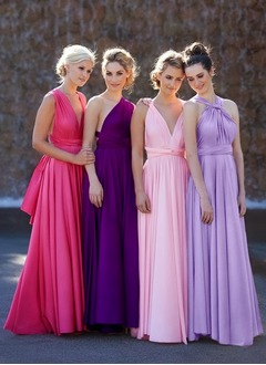 A-Line/Princess Floor-Length Jersey Bridesmaid Dress With Ruffle (0075057247)