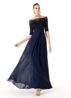 A-Line/Princess Off-the-Shoulder Floor-Length Chiffon Tulle Mother of the Bride Dress With Lace Beading