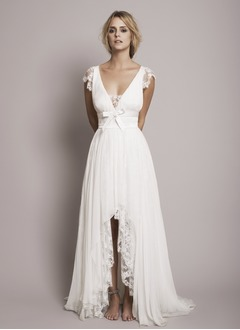 A-Line/Princess V-neck Asymmetrical 30D Chiffon Wedding Dress With Ruffle Lace Bow(s)