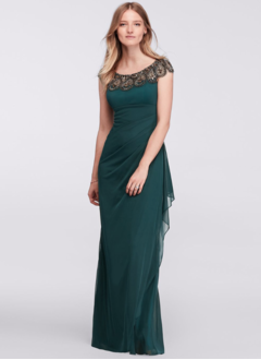 Sheath/Column Scoop Neck Floor-Length 30D Chiffon Evening Dress With Beading