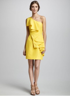 Sheath/Column One-Shoulder Short/Mini Satin Cocktail Dress