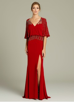 Sheath/Column V-neck Sweep Train Jersey Evening Dress With Beading Split Front