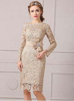 Sheath/Column Scoop Neck Knee-Length Lace Mother of the Bride Dress With Sash
