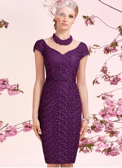 Sheath/Column Scoop Neck Knee-Length Tulle Lace Mother of the Bride Dress With Beading Appliques Lace