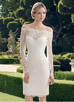 Sheath/Column Off-the-Shoulder Knee-Length Lace Wedding Dress  ...