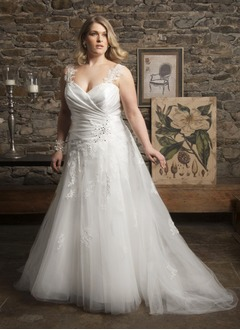 A-Line/Princess Sweetheart Court Train Satin Tulle Wedding Dress With Ruffle Beading Appliques Lace