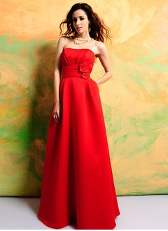 Empire Sweetheart Floor-Length Satin Bridesmaid Dress With Ruffle Beading Flower(s)