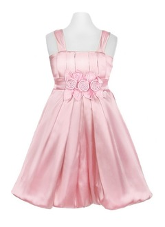 A-Line/Princess Strapless Tea-Length Charmeuse Flower Girl Dress With Ruffle