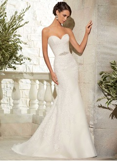 Trumpet/Mermaid Strapless Sweetheart Sweep Train Organza Wedding Dress With Beading Appliques Lace