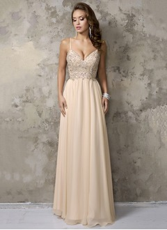 A-Line/Princess V-neck Floor-Length Chiffon Prom Dress With Ruffle Beading (0185106764)