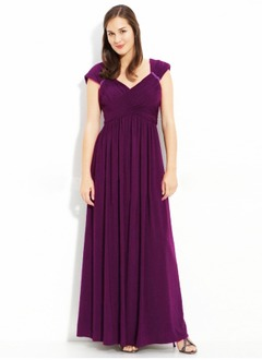 A-Line/Princess V-neck Floor-Length Chiffon Charmeuse Mother of the Bride Dress With Ruffle