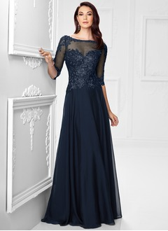 A-Line/Princess Scoop Neck Sweep Train Chiffon Mother of the Bride Dress With Lace Appliques Lace
