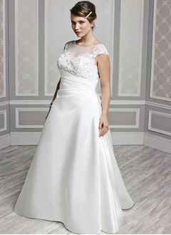 A-Line/Princess Scoop Neck Chapel Train Satin Wedding Dress With Ruffle Beading