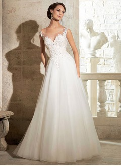 A-Line/Princess Scoop Neck Chapel Train Organza Tulle Wedding Dress With Beading Appliques Lace