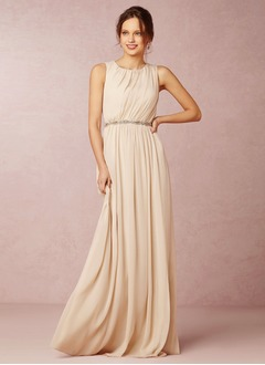 A-Line/Princess Scoop Neck Sweep Train Chiffon Bridesmaid Dress With Ruffle