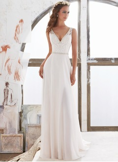 A-Line/Princess V-neck Chapel Train Chiffon Wedding Dress With Lace Beading