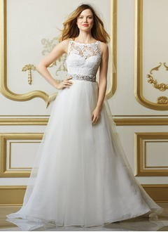 A-Line/Princess Scoop Neck Sweep Train Organza Lace Wedding Dress With Sash Beading