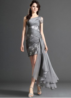 Sheath/Column One-Shoulder Short/Mini Chiffon Satin Lace Cocktail Dress With Ruffle
