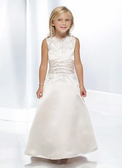 A-Line/Princess V-neck Floor-Length Satin Flower Girl Dress With Embroidered Ruffle Beading