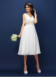 A-Line/Princess V-neck Tea-Length Chiffon Bridesmaid Dress  ...