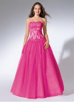 Ball-Gown Strapless Floor-Length Satin Tulle Prom Dress With Lace Beading