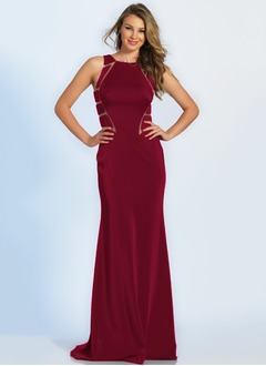 Sheath/Column Halter Sweep Train Charmeuse Prom Dress
