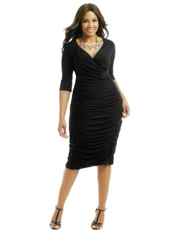 Sheath/Column V-neck Knee-Length Jersey Mother of the Bride Dress With Ruffle