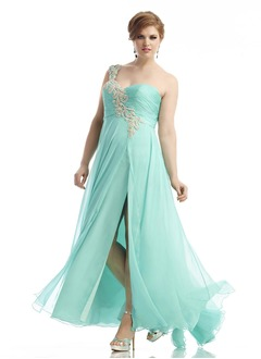 A-Line/Princess One-Shoulder Floor-Length Chiffon Prom Dress With Beading