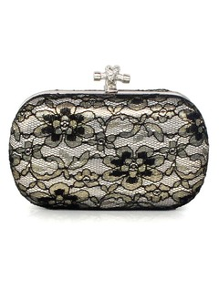 Elegant Satin/Lace With Rhinestone Clutches