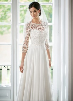 A-Line/Princess Scoop Neck Sweep Train Chiffon Lace Wedding  ...