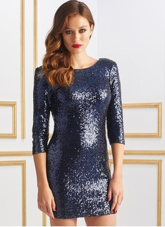 Sheath/Column Scoop Neck Short/Mini Sequined Evening Dress With Sequins