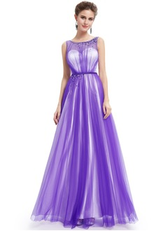 A-Line/Princess Scoop Neck Floor-Length Tulle Prom Dress With Ruffle Beading