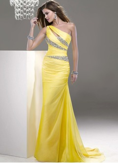 Sheath/Column One-Shoulder Sweep Train Chiffon Evening Dress  ...