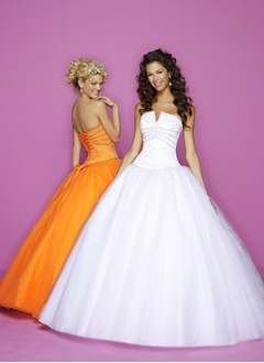 Ball-Gown Strapless Sweetheart Floor-Length Satin Tulle Prom Dress With Beading Sequins