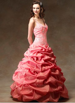 Ball-Gown V-neck Floor-Length Taffeta Quinceanera Dress With Ruffle Beading