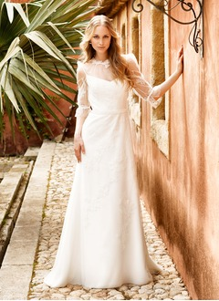 A-Line/Princess Scoop Neck Sweep Train Tulle Wedding Dress With Lace