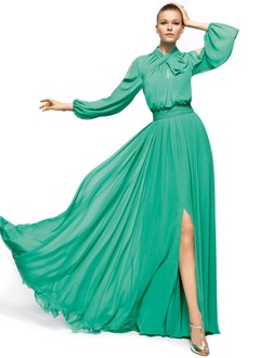 A-Line/Princess High Neck Floor-Length Chiffon Evening Dress With Ruffle Split Front