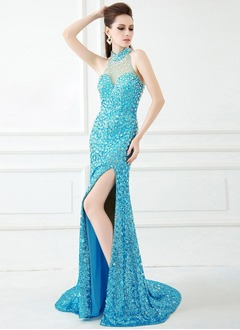 Trumpet/Mermaid High Neck Sweep Train Tulle Sequined Evening Dress With Beading Split Front