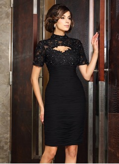 Sheath/Column High Neck Knee-Length Chiffon Tulle Mother of the Bride Dress With Beading Appliques Lace