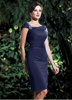 Sheath/Column Scoop Neck Knee-Length Satin Chiffon Mother of the Bride Dress With Ruffle Beading